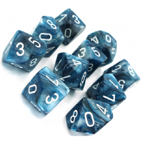 Slate & White Lustrous D10 Ten Sided Dice Set